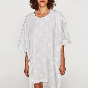 NWT Zara AW17 Size S Off White Polka Dot Dress